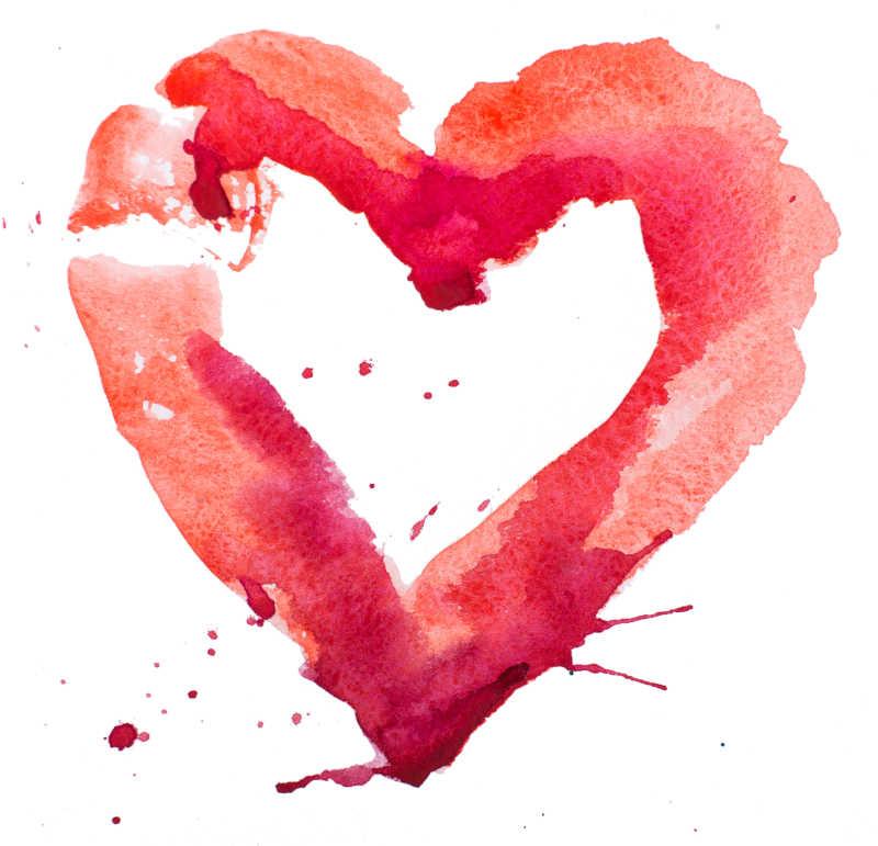 红色水彩绘制的心