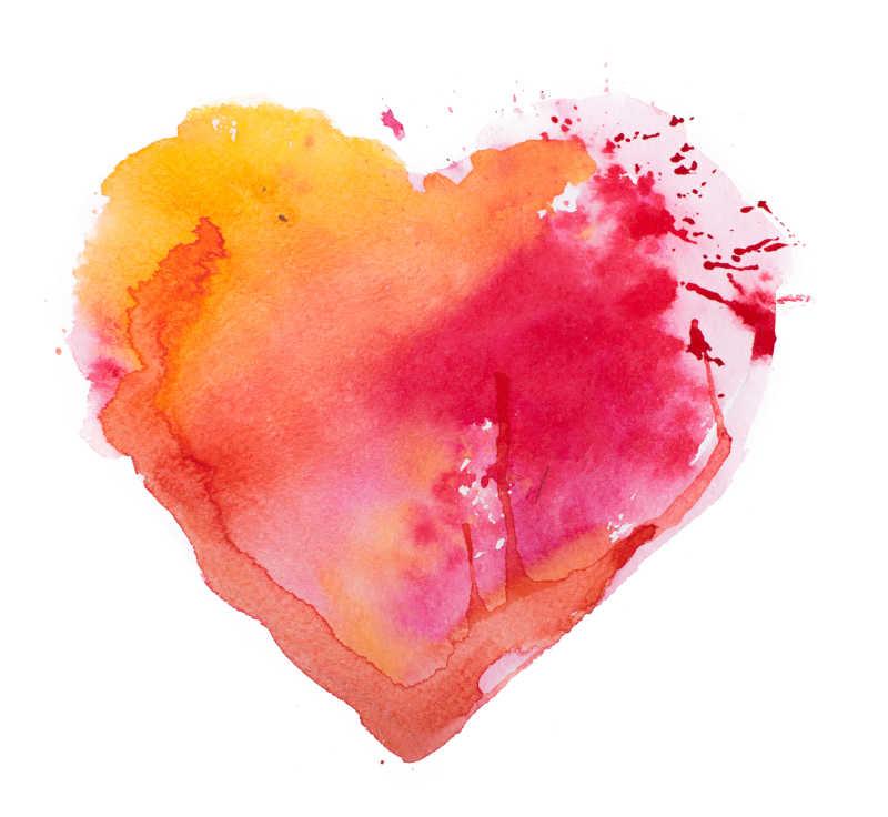 水彩绘制的彩色心