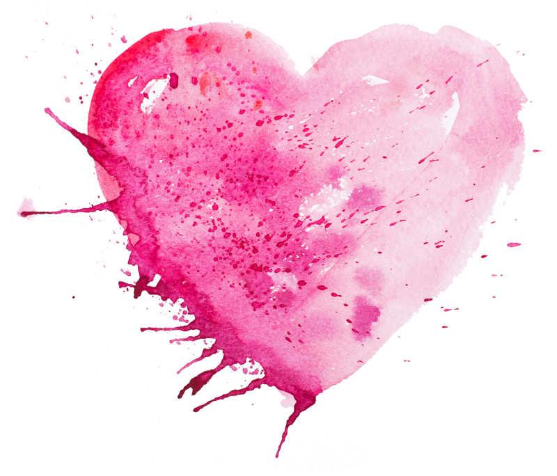 粉色的水彩心