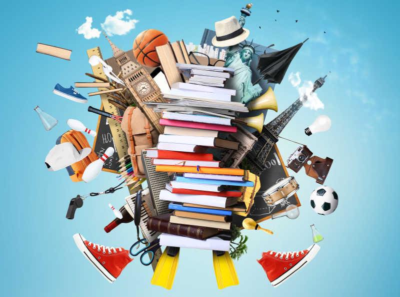 一堆图书杂志与其他东西