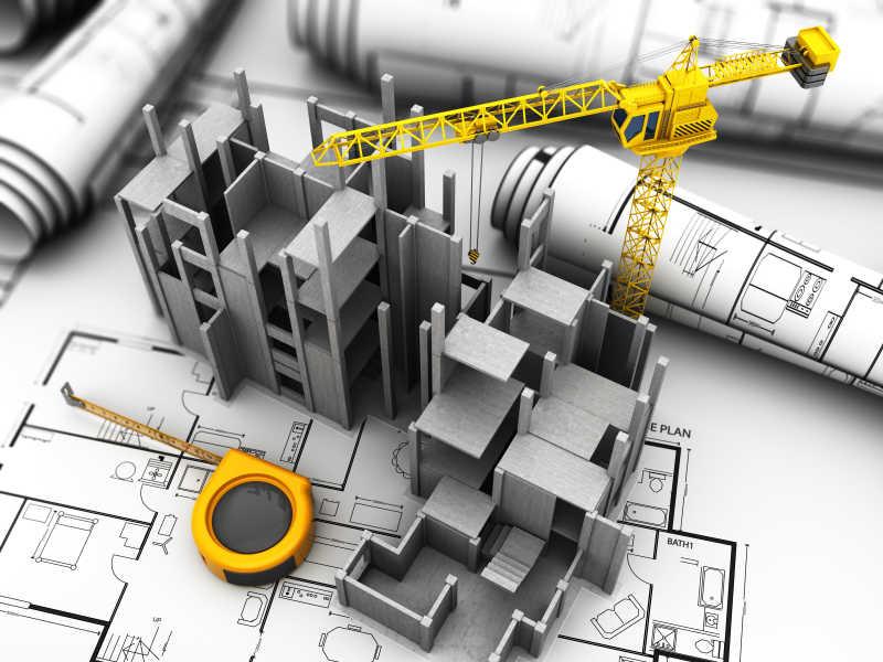 混凝土建筑施工模型