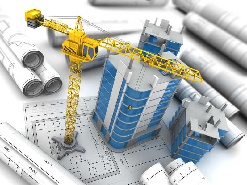 蓝图上施工的大楼三维模型