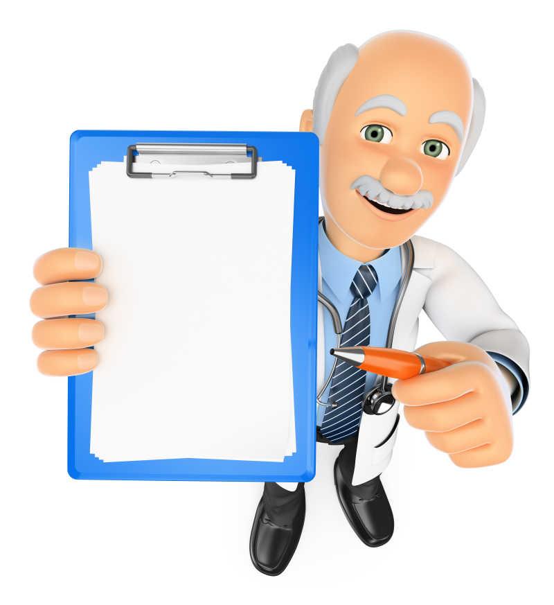 白色背景下3D医疗人员用空白剪贴板和笔