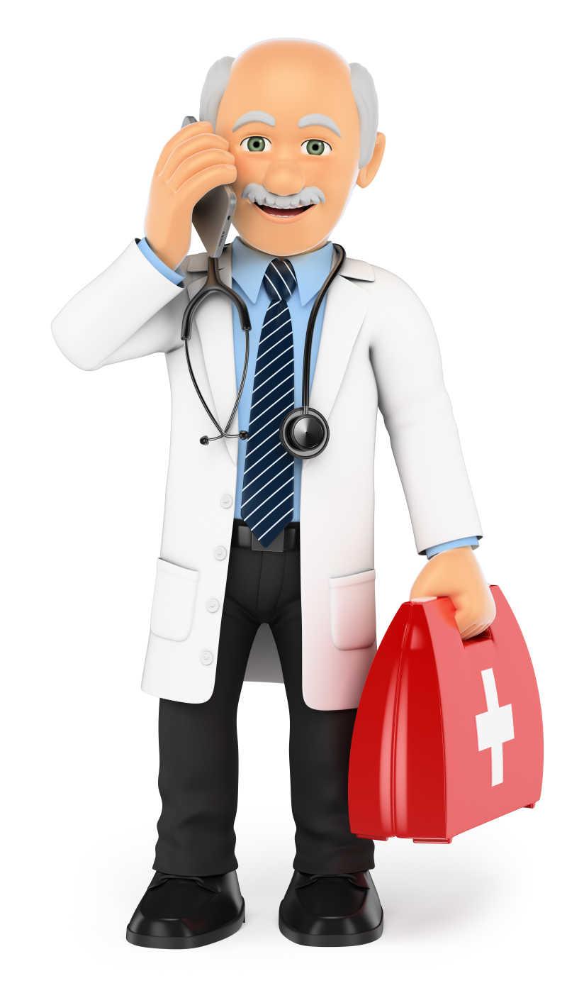 白色背景下拿急救包打电话的3D医生