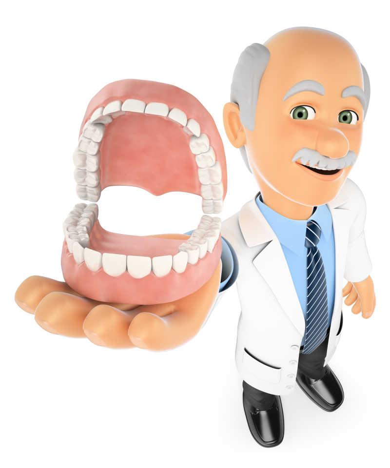 白色背景下显示义齿的3D牙科医生