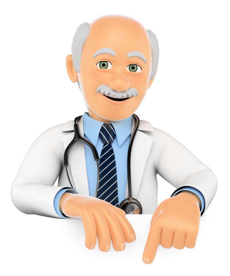 白色背景下的3D医疗人员