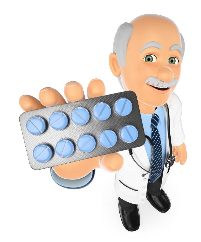 白色背景下拿药片的3D医生