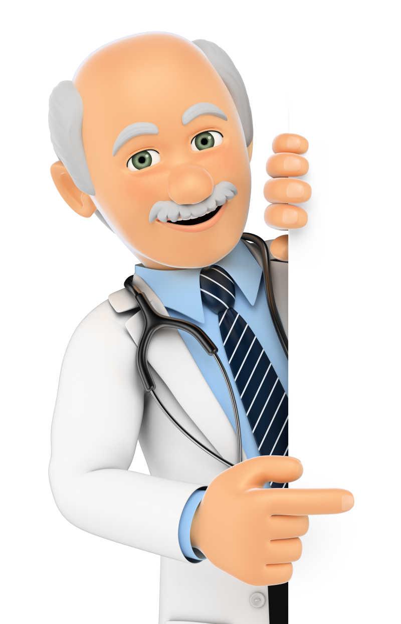 在白色背景下3D医疗人员指着旁边空白处