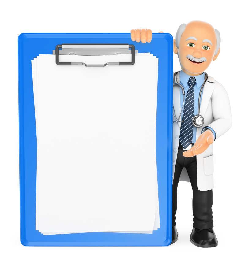 白色背景下的3D医生与空白剪贴板
