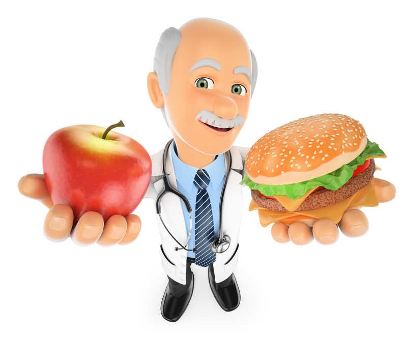 白色背景下在一个苹果和一个汉堡包之间选择的3D医生