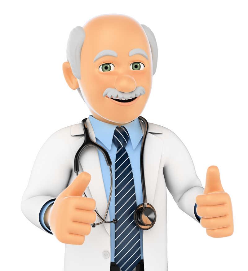 白色背景下的3D医生竖起大拇指