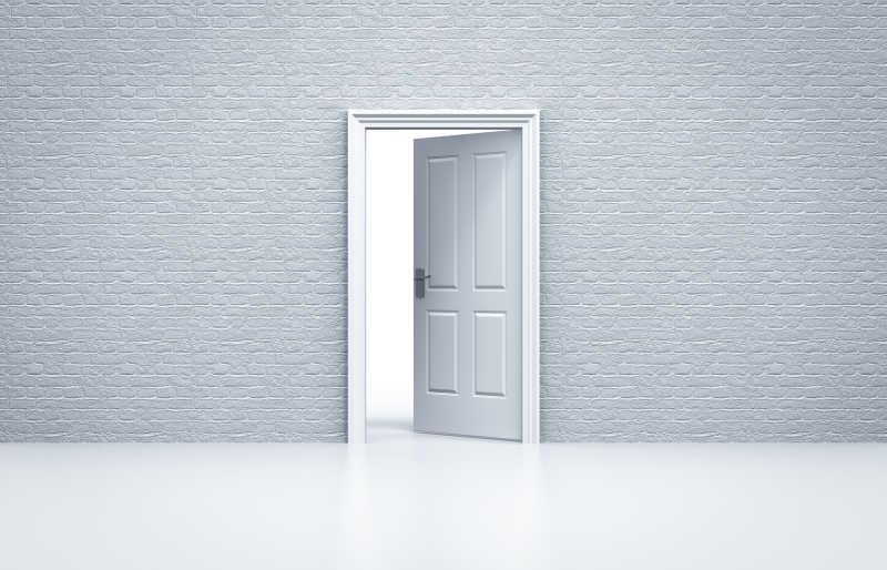 灰色背景中的一道白门