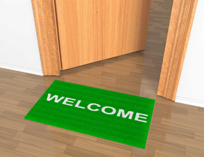 写着欢迎的地毯