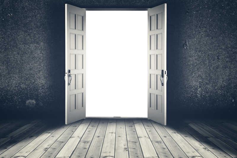 两扇打开的门