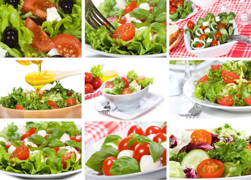 拼贴的绿色蔬菜沙拉