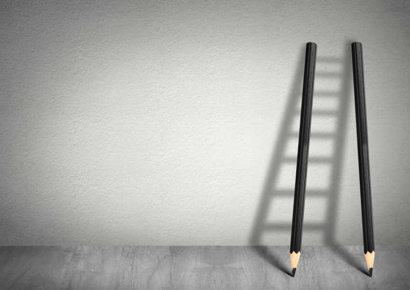 铅笔梯子成功创意概念