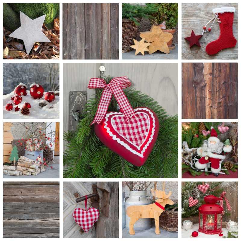 乡村风格的红色圣诞节装饰品