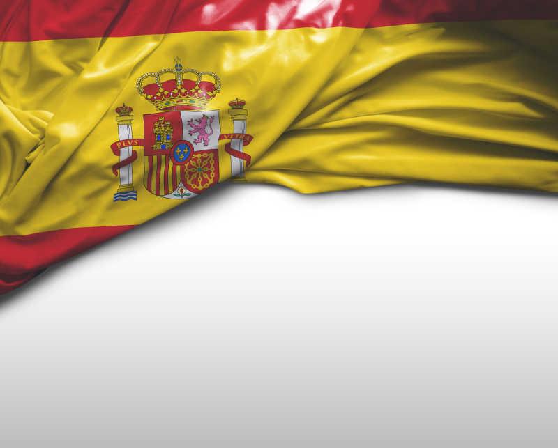 白色背景上西班牙国旗