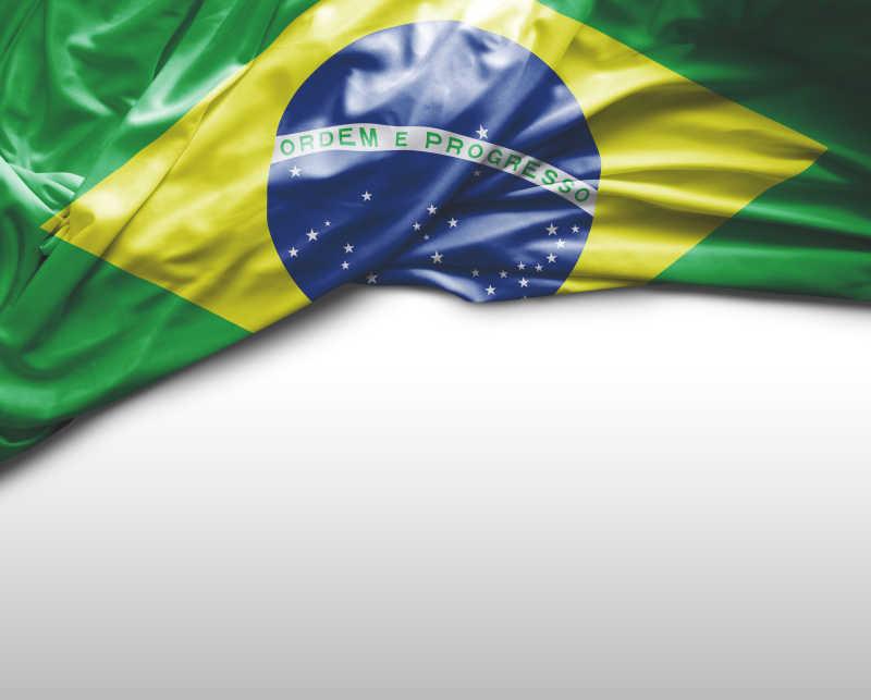 白色背景上巴西国旗
