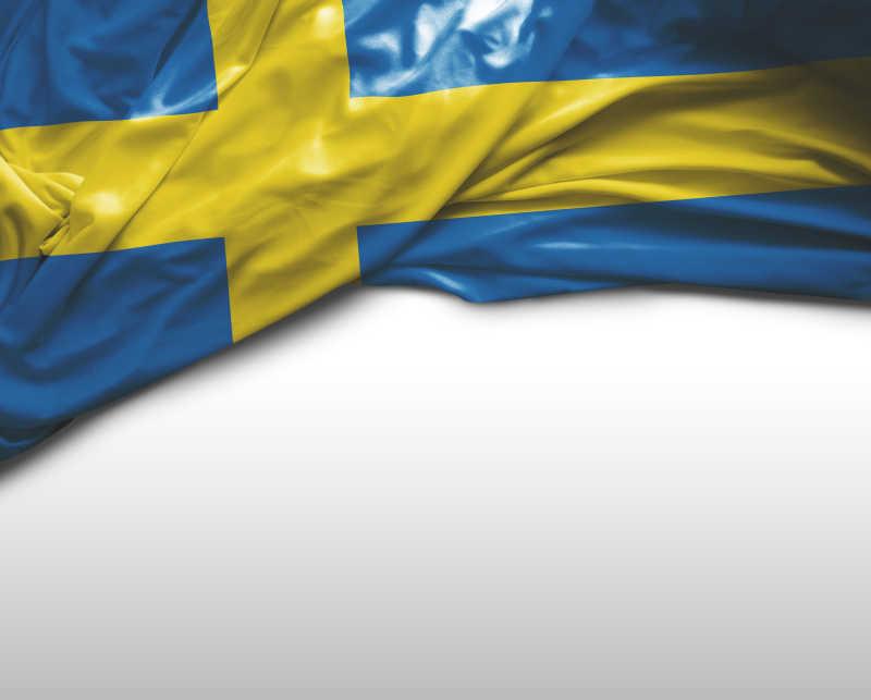 白色背景上瑞典国旗