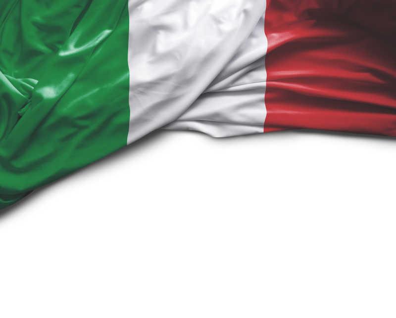 白色背景上意大利国旗特写