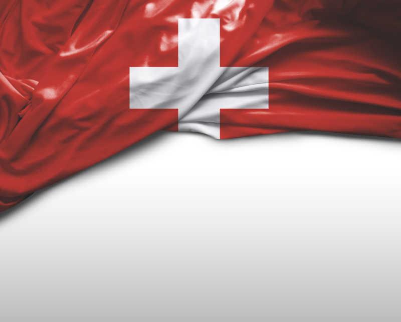 白色背景上瑞士国旗