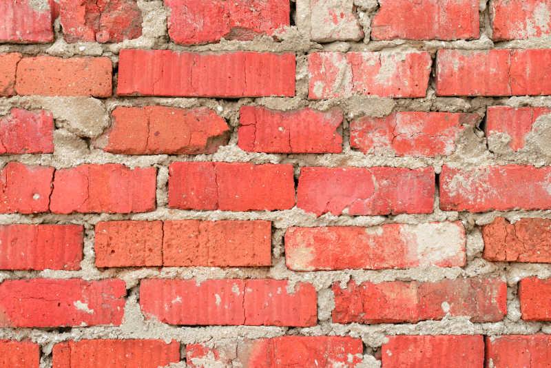 红色水泥砖墙特写