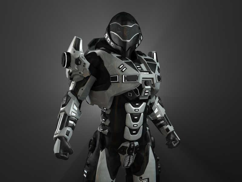 黑色背景下的现代科技机器人