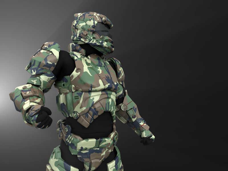 黑色背景下的先进超级战士机器人