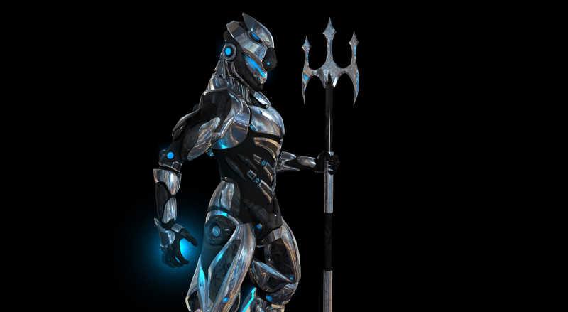 黑色背景下拿着武器的超级战士机器人
