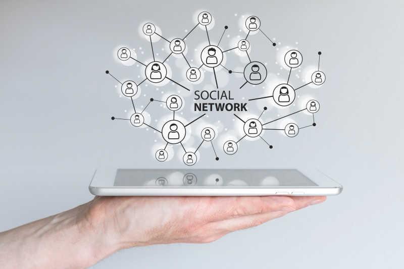 平板电脑的移动社交网络概念