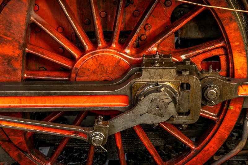 整齐火车老旧的车轮