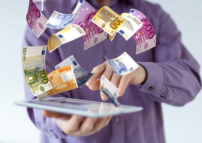 板上飘动的各种欧元