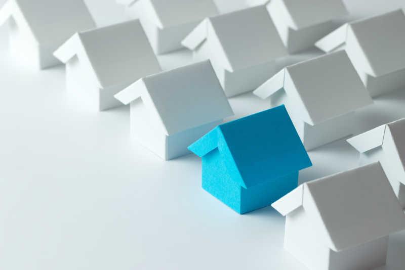 白房子模型中的蓝色房子