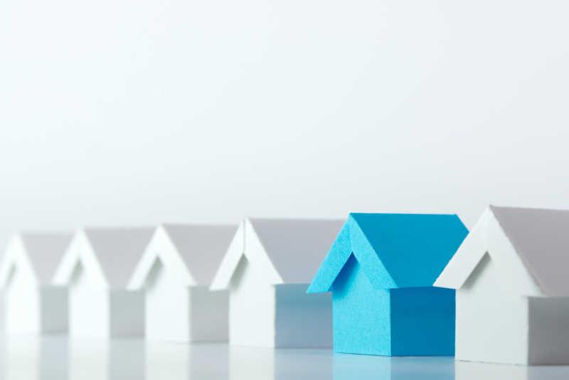 房地产业行业中白房子模型中的蓝房子