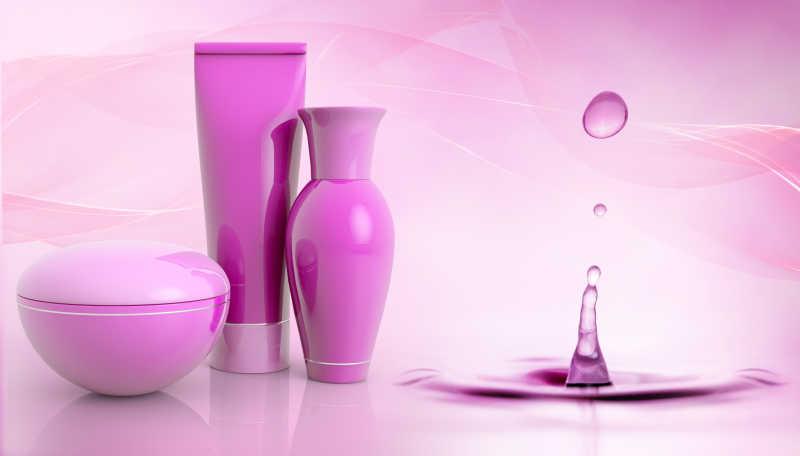 粉色水滴背景上粉色空白标签护肤品