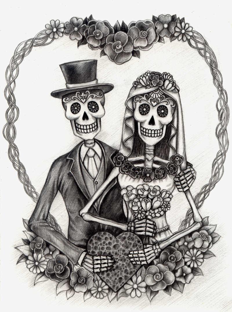 结婚的一对骷髅情侣