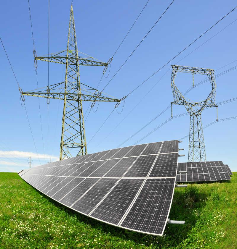 太阳能发电站的电池板