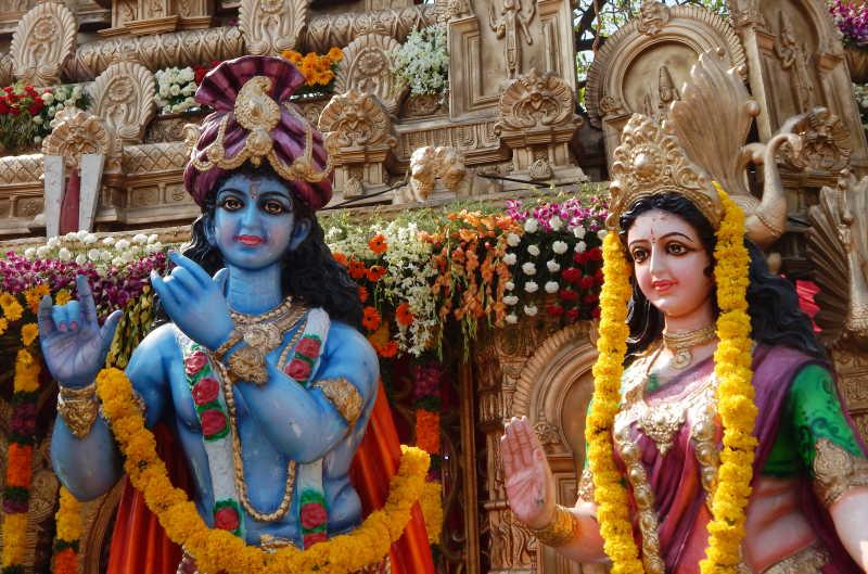 印度教克里希纳和拉达神的雕像