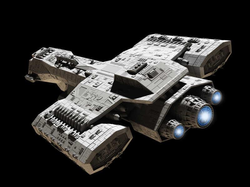 黑色背景下的宇宙飞船
