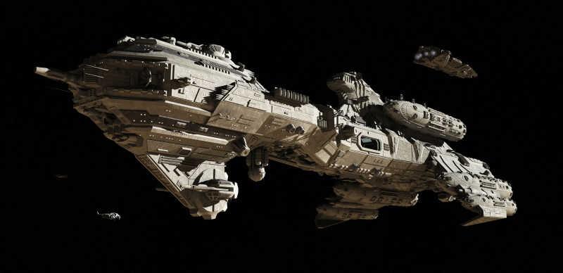 黑色背景下的太空护卫舰