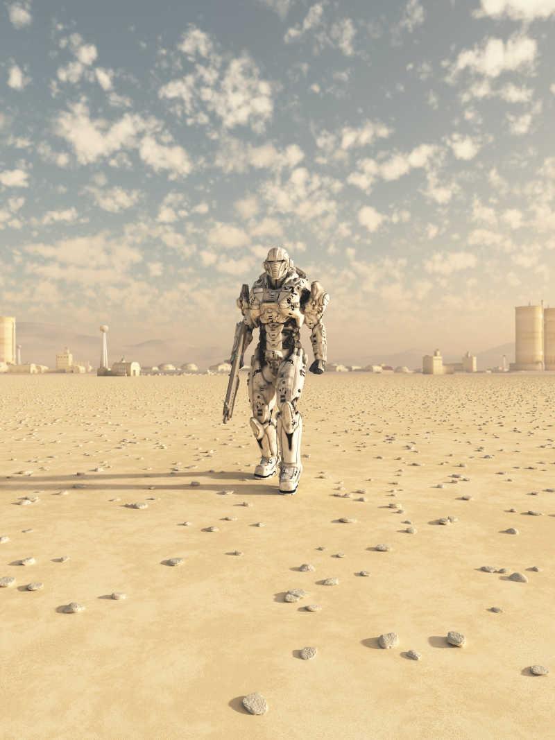 未来世界中行走的士兵