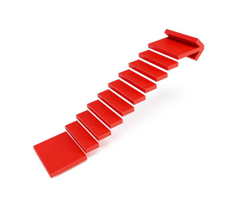 向上的红色箭头台阶