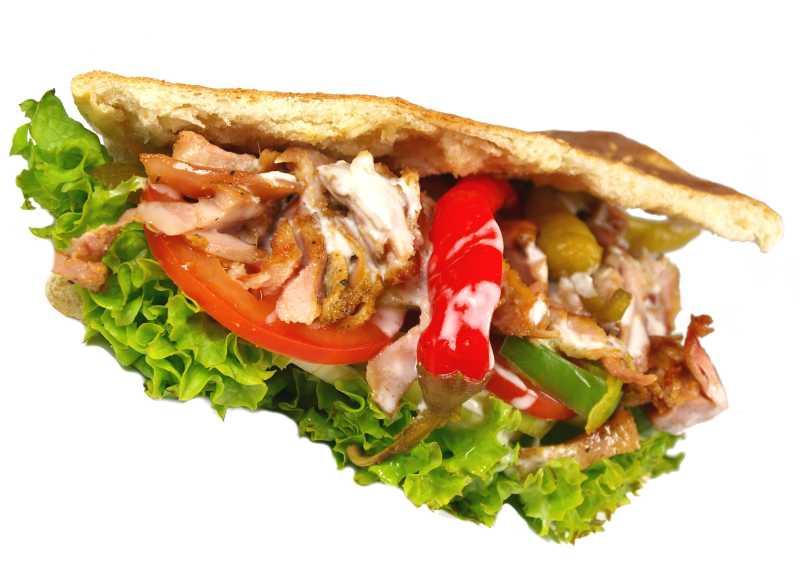 有新鲜蔬菜和烤肉的快餐三明治