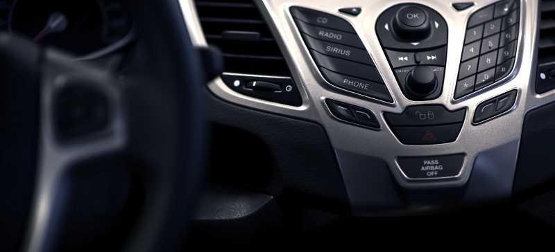 汽车里的黑色银色中控面板