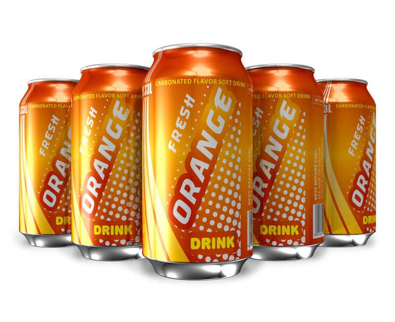 罐装的橙汁汽水