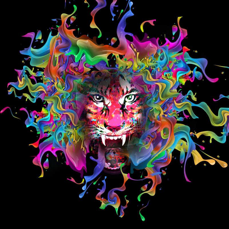 野生老虎抽象画