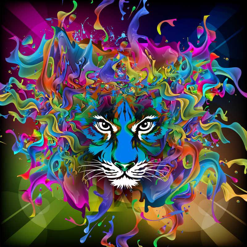 明亮的抽象老虎彩绘