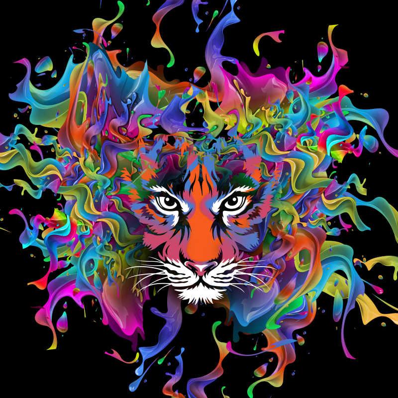 老虎在彩绘中