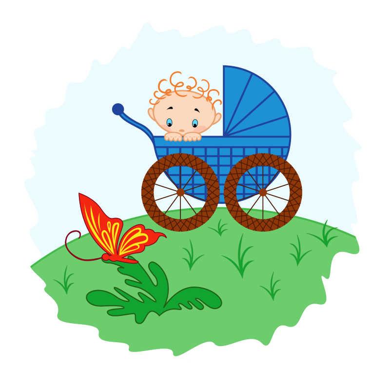 草地上的卡通婴儿车里的婴儿在看蝴蝶手绘插图
